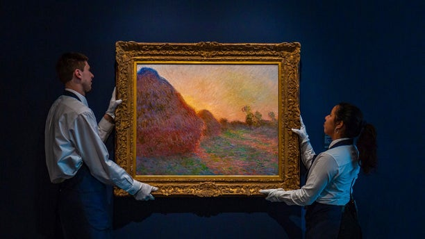 """This undated photo provided by Sotheby's shows Claude Monet's painting titled """"Meules."""""""