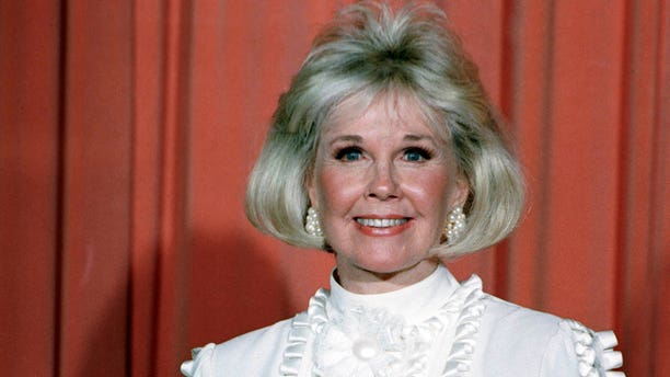 Doris Day after receiving the Cecil B. DeMille Award on Jan. 28, 1989 at the annual Golden Globe Awards ceremony in Los Angeles. (AP Photo, File)