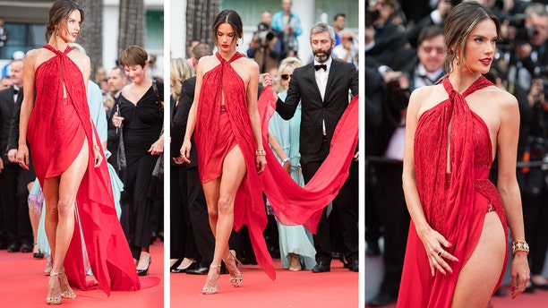 """Alessandra Ambrosio walks the red carpet for the screening of """"Les Miserables"""" during the 72nd annual Cannes Film Festival on May 15, 2019 in Cannes, France."""