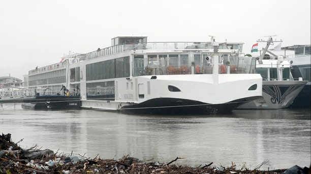 The Viking Sigyn hotel ship is moored following a collision with a sightseeing boat in Budapest, Hungary, Thursday, May 30, 2019. (AP Photo/Laszlo Balogh)