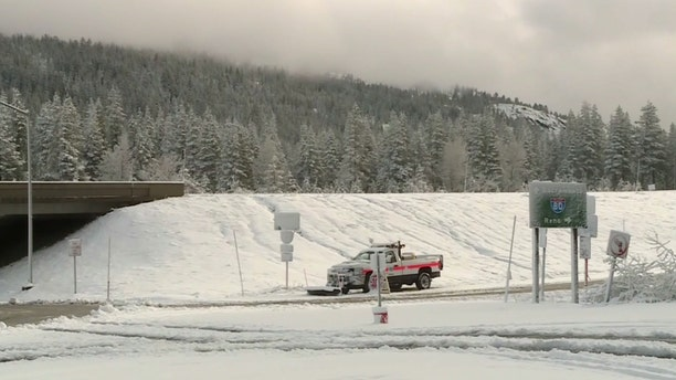 Heavy snow was reported in Kingsville, Calif. on Thursday as a storm system moved into the region.