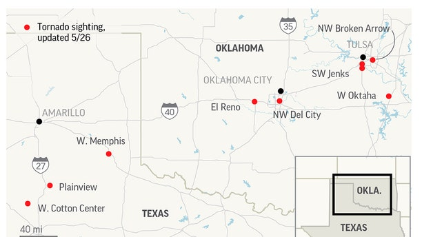 A suspected twister hit El Reno, which is just west of Oklahoma City, on Saturday night as a powerful storm system rolled through the state.;