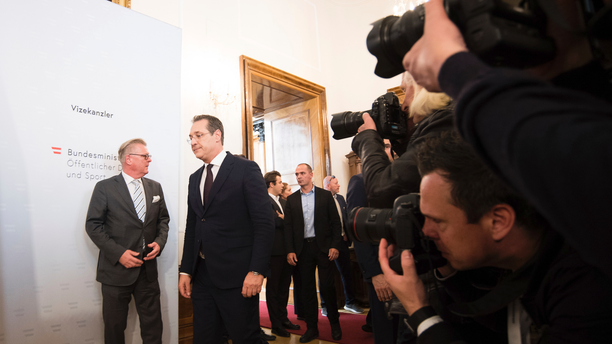 FILE - In this Saturday, May 18, 2019 file photo, Austrian Vice Chancellor Heinz-Christian Strache (Austrian Freedom Party), second left, arrives for a press conference at the sport ministry in Vienna, Austria. The European Parliament elections have never been so hotly anticipated or contested, with many predicting that this year's ballot will mark a coming-of-age moment for the euroskeptic far-right movement. The elections start Thursday May 23, 2019 and run through Sunday May 26 and are taking place in all of the European Union's 28 nations. (AP Photo/Michael Gruber, File)