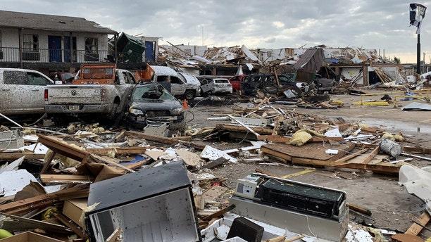 Damage from a tornado is seen in El Reno, Oklahoma on Sunday.