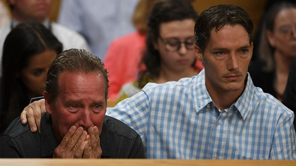 Frank Rzucek the father of Shanann Watts, left, and her brother Frankie Rzucek were in court for Christopher Watts arraignment hearing at the Weld County Courthouse on Aug. 21, 2018, in Greeley, Colorado. (Photo by RJ Sangosti/The Denver Post via Getty Images)