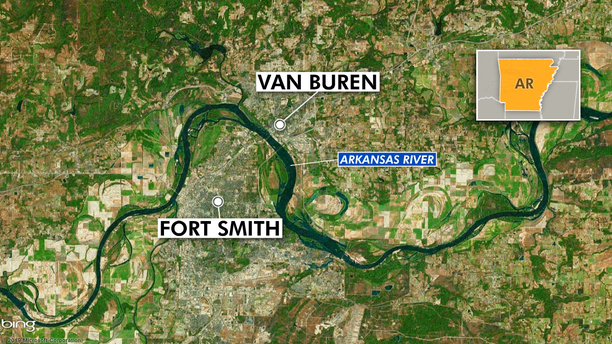 The Arkansas River separates Van Buren and Fort Smith, both close to the river