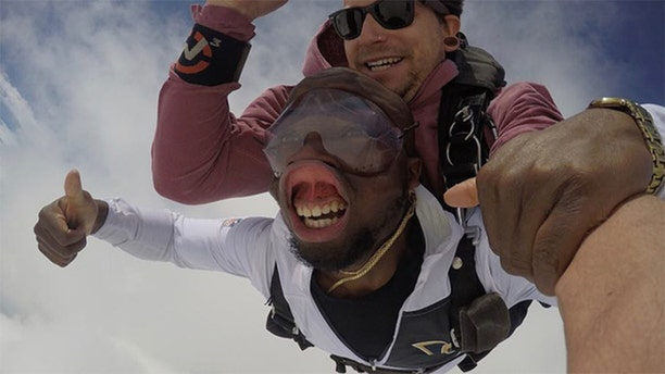 """Jeff Addo went skydiving for his 27th birthday.<br data-cke-eol=""""1"""">"""