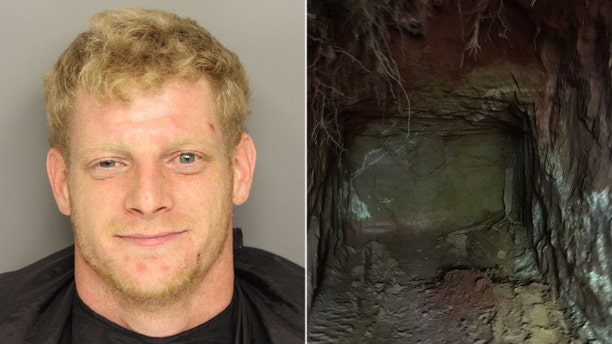"""Timothy Glenn Painter, 26, was arrested after more than $200,000 in stolen items were found in a """"sophisticated network of underground tunnels"""" at his property in South Carolina."""