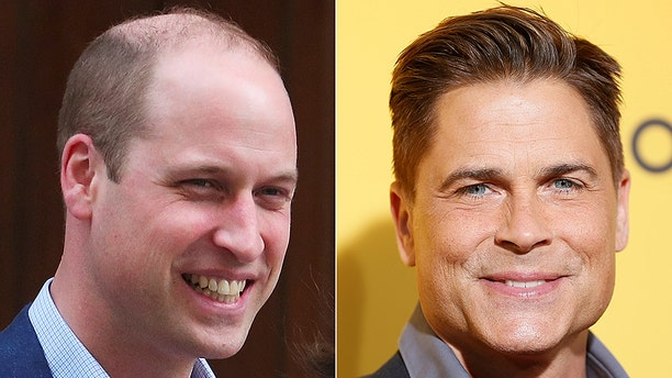 Actor Rob Lowe, right, joked that it was a 'traumatic' experience watching Prince William lose his hair.