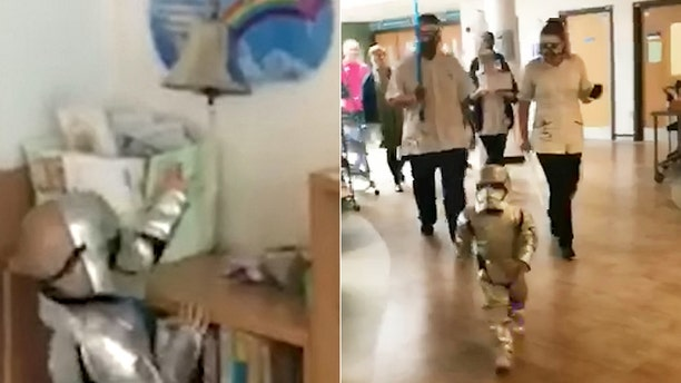 Audrina, a 'Star Wars' superfan, donned a Stormtrooper costume to ring the hospital's bell.
