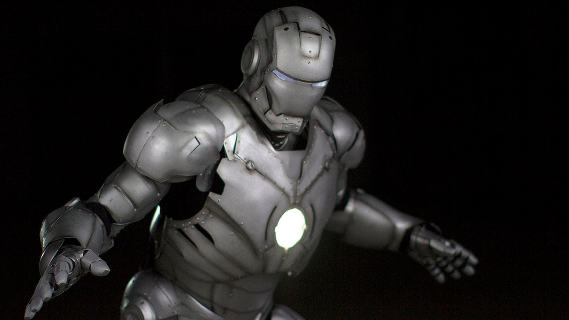 Beauty shots of Adam Savage's 3D printed Iron Man suit, with his helmet. (Credit: Discovery Channel)