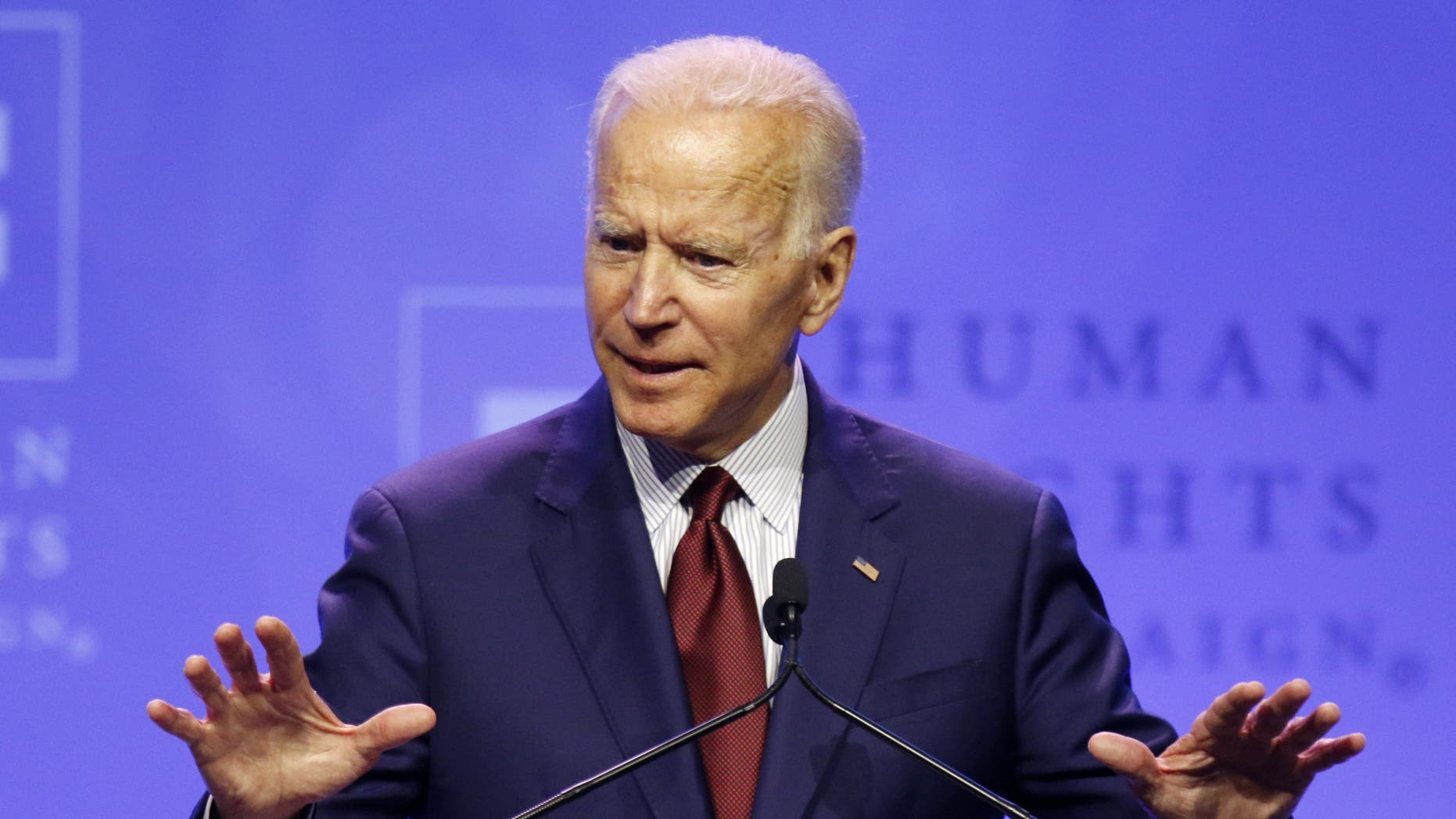 Democratic presidential candidate and former Vice President Joe Biden speaks in Columbus, Ohio, over the weekend. (AP Photo/Paul Vernon)