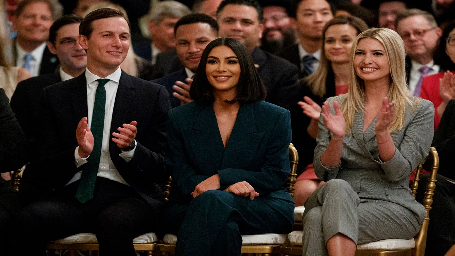White House senior adviser Jared Kushner, left, and Ivanka Trump applaud as Kim Kardashian West, who is among the celebrities who have advocated for criminal justice reform in Washington.
