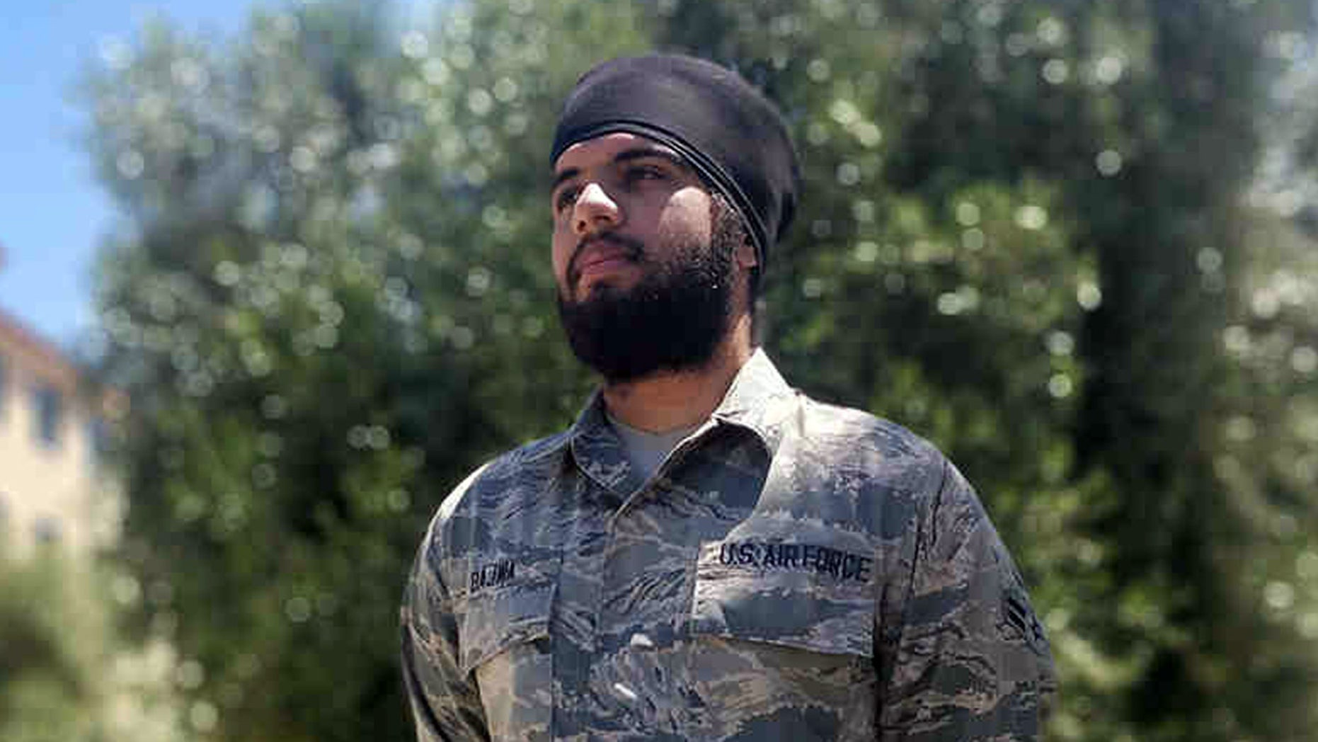 Airman 1st Class Harpreetinder Singh Bajwa was granted a historic religious accommodation by the Air Force allowing him to wear a turban, beard, and unshorn hair in keeping with his Sikh faith.