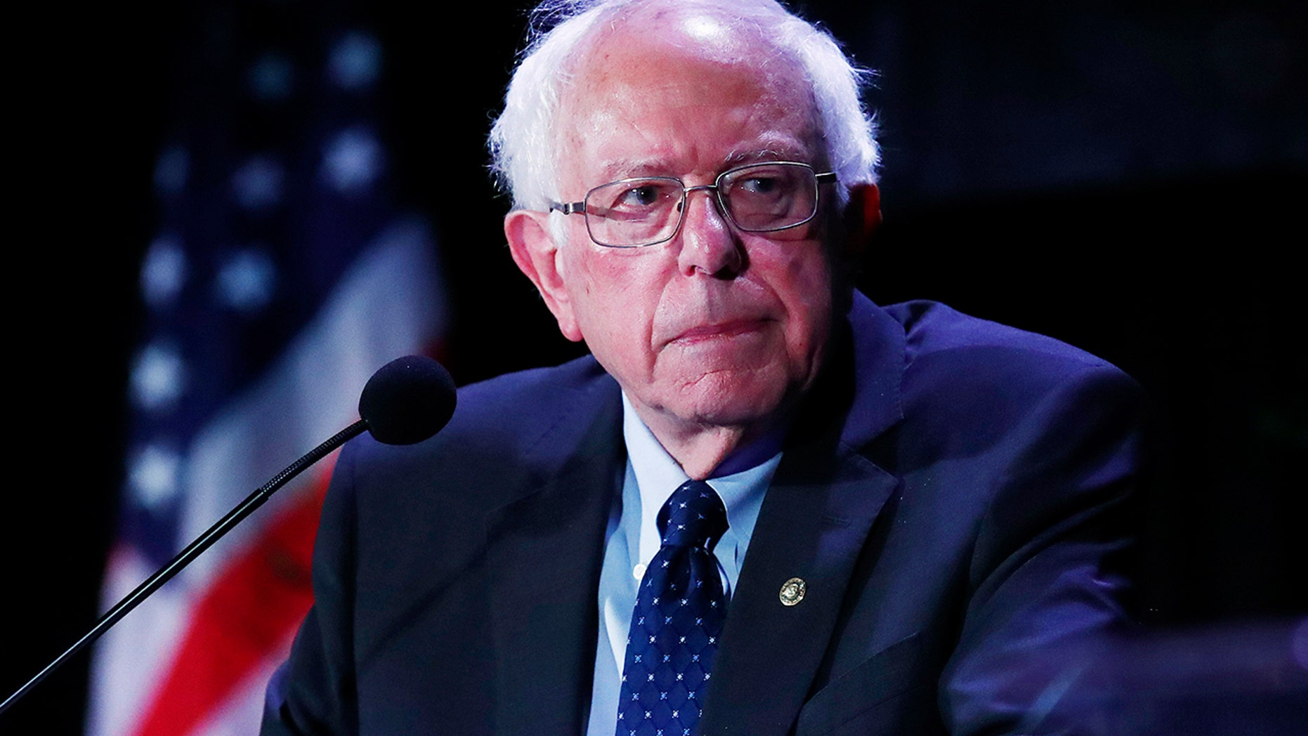 Democratic presidential candidate Sen. Bernie Sanders, I-Vt., pauses while speaking during a forum on Friday, June 21, 2019, in Miami. (AP Photo/Brynn Anderson)