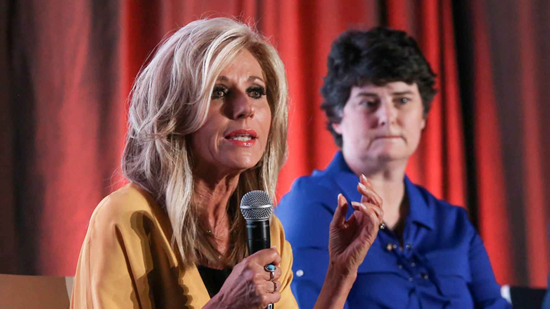 "Bible teacher and sexual abuse survivor Beth Moore participates in a panel discussion hosted by the Southern Baptist Convention's Ethics and Religious Commission called ""Sexual Abuse and the Southern Baptist Convention"" June 10 at the Birmingham-Jefferson Convention Complex, the night before the start of the two-day SBC annual meeting."