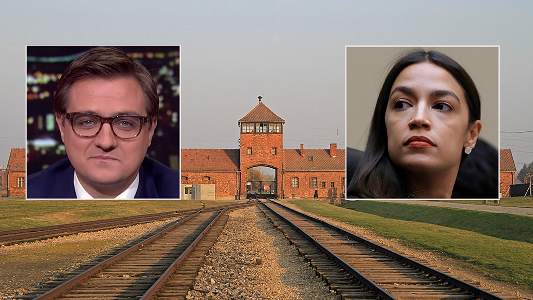 Auschwitz Memorial responded to MSNBC host Chris Hayes defending Alexandria Ocasio-Cortez rhetoric at concentration camps. (AusciStock / MSNBC / AP)