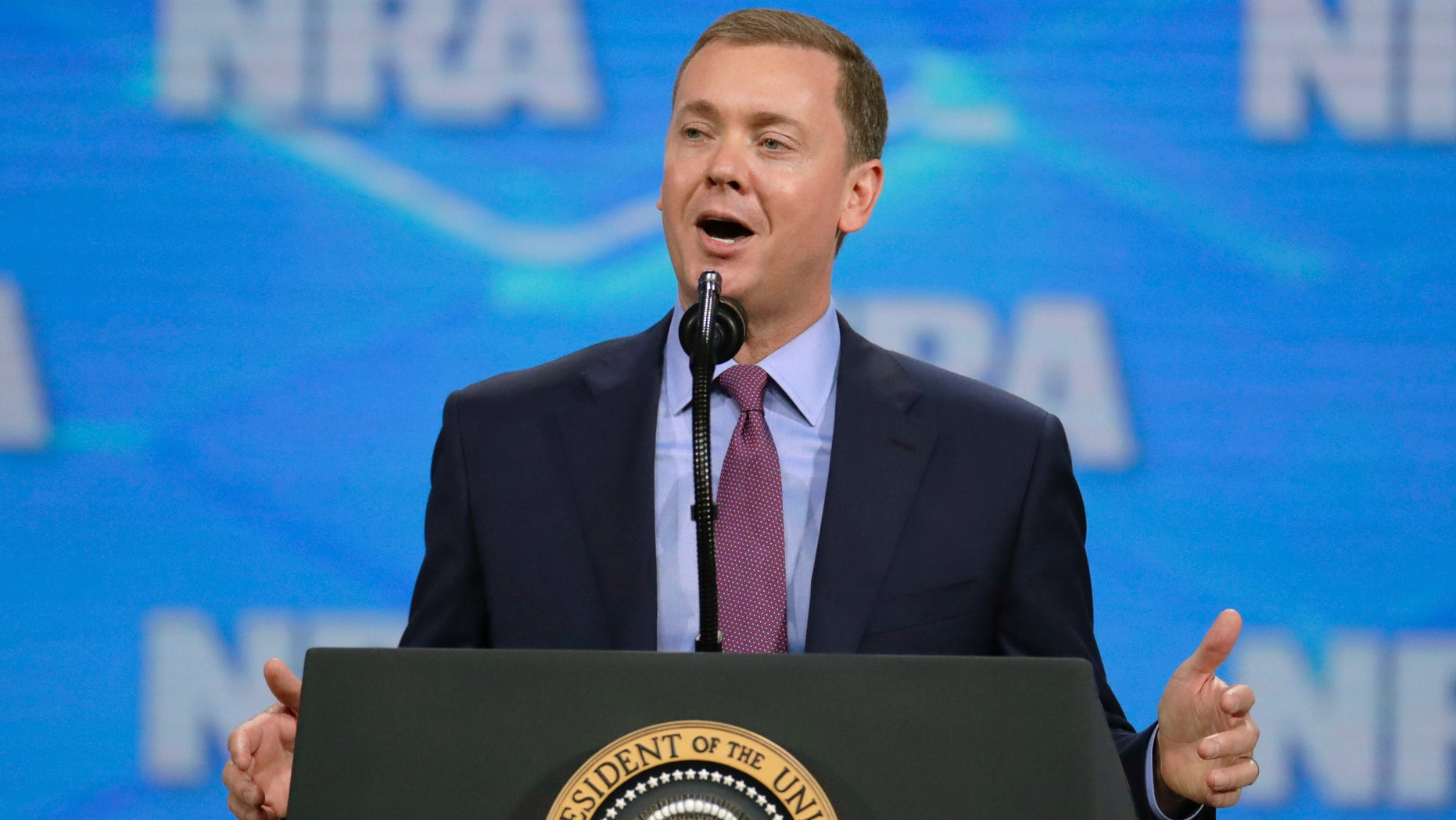 The National Rifle Association's top lobbyist, Chris Cox, resigned Wednesday, the latest development in a dizzying array of in-fighting within the gun lobbying group in recent months that has ensnared even its most ardent loyalists.(AP Photo/Michael Conroy, File)