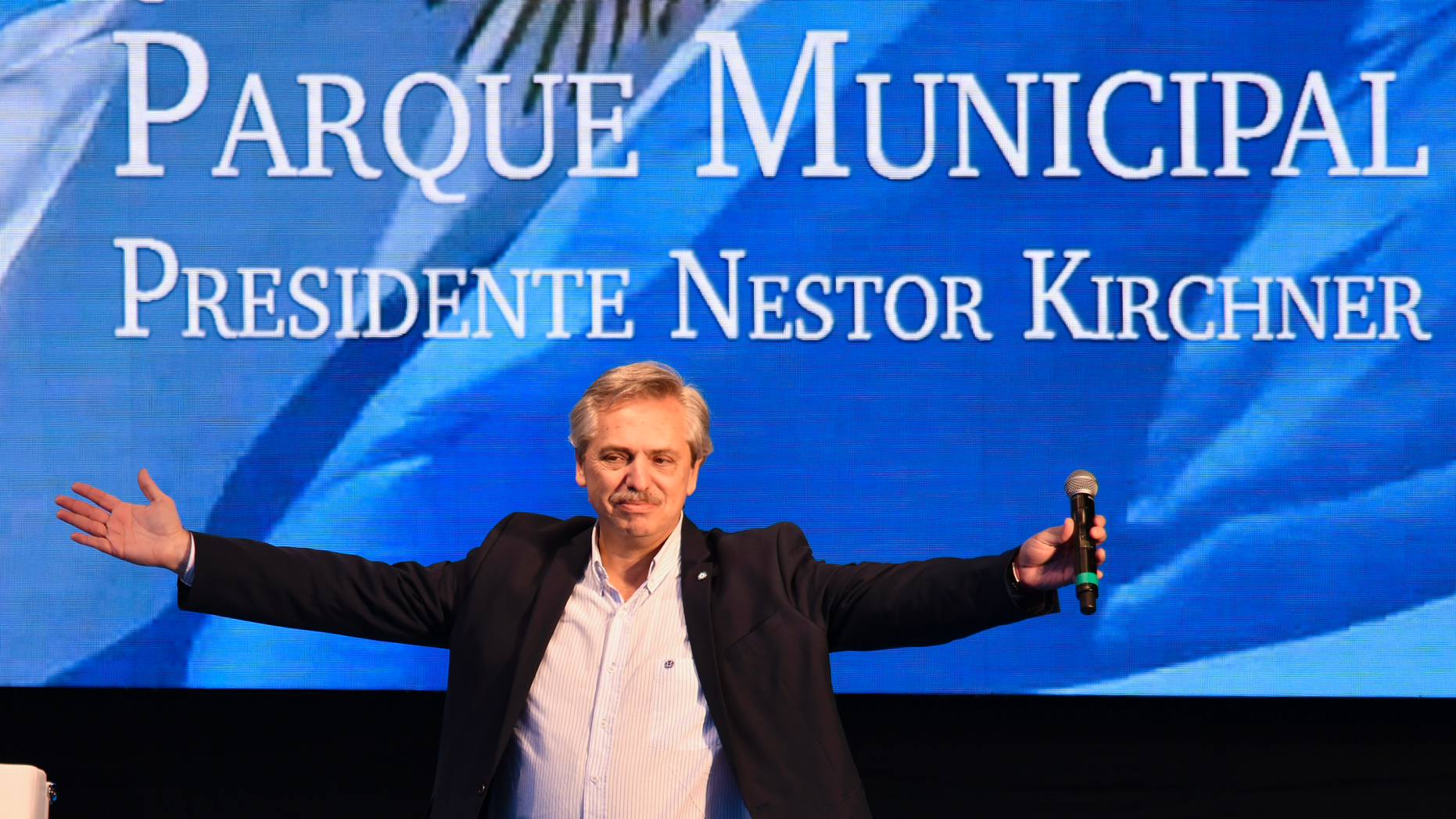 FILE - In this May 25, 2019 file photo, Argentine presidential candidate Alberto Fernandez acknowledges the audience during a campaign rally in Buenos Aires, Argentina. On Monday, June 3, 2019, Fernandez checked himself into the hospital for tests following a persistent cough. (AP Photo/Gustavo Garello, File)