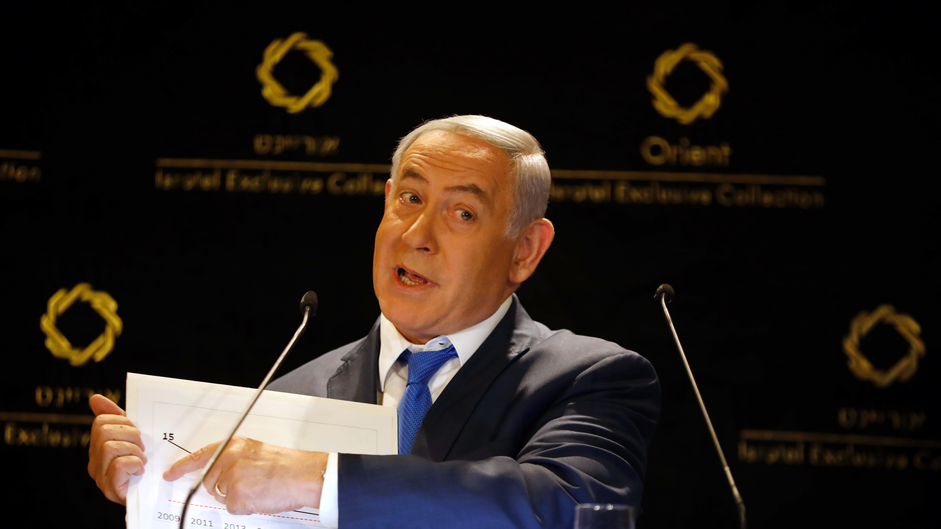 FILE - In this Thursday, May 30, 2019 file photo, Israeli Prime Minister Benjamin Netanyahu gives a statement to the press in Jerusalem. After narrowly failing to oust PM Benjamin Netanyahu in April elections, the long-time Israeli leader's opponents now have a rare chance for a 'do-over' in a snap vote in September. (AP Photo/Ariel Schalit, File)