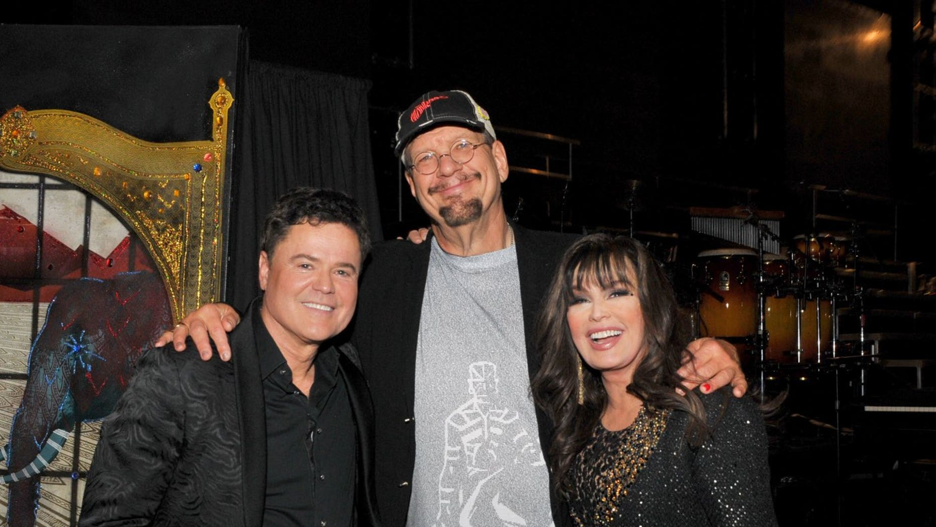 From a left, Donny Osmond, Penn Jillette and Marie Osmond. Jillette pronounced he mislaid 105 pounds by contracting few fasting.