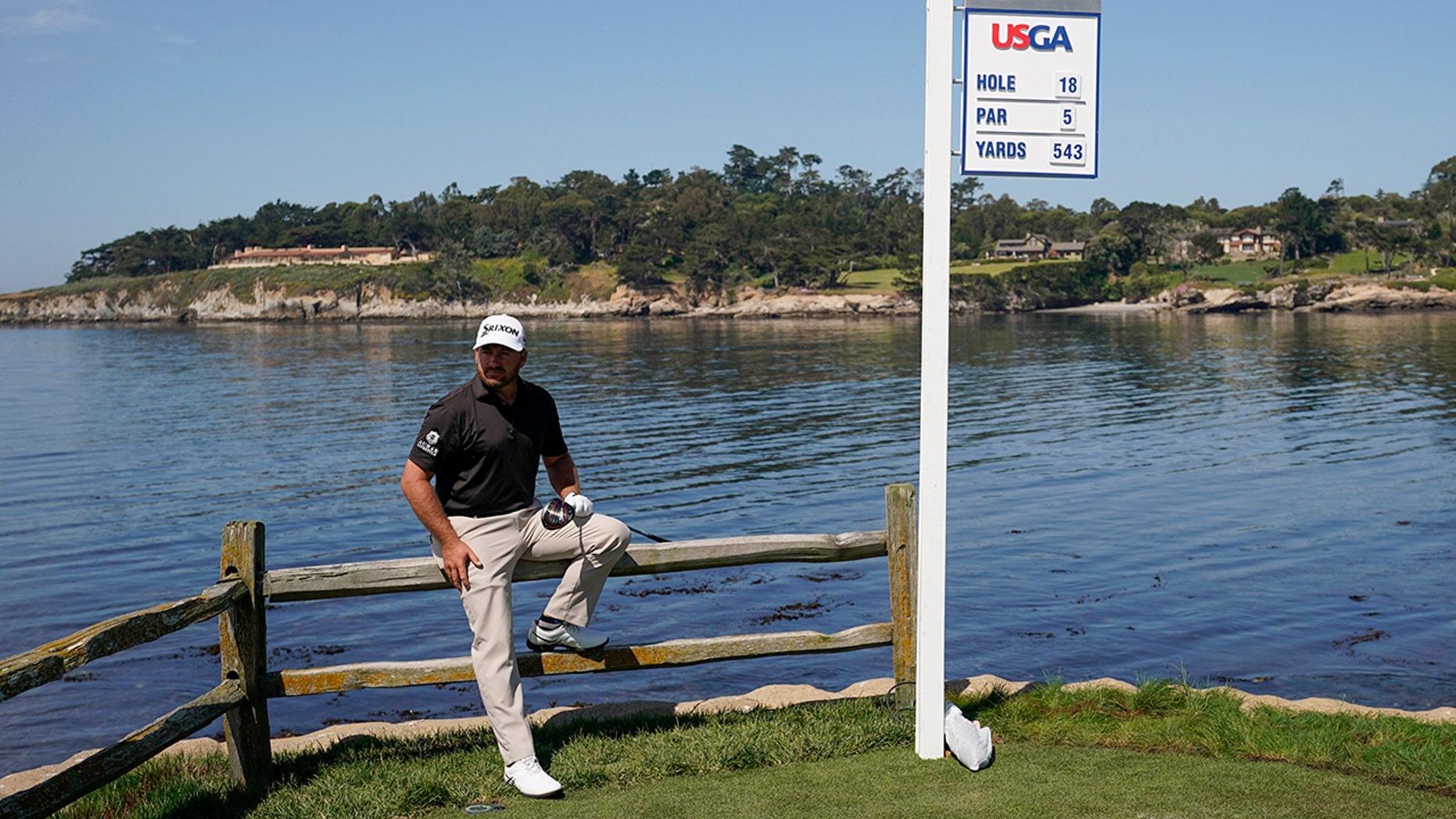 Graeme McDowell, of Northern Ireland, poses for a design on a 18th hole during a use turn for a U.S. Open Championship golf contest Tuesday, Jun 11, 2019, in Pebble Beach, Calif. (AP Photo/David J. Phillip)