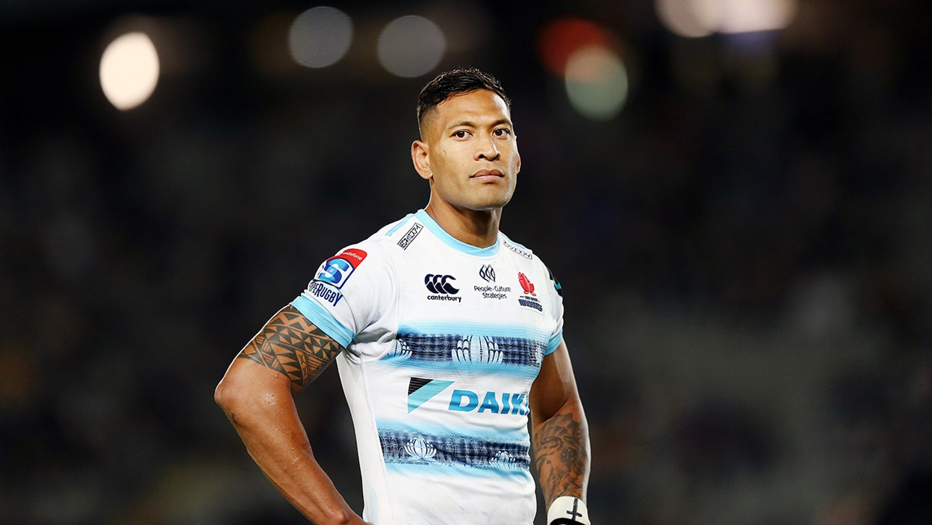 Israel Folau is in the fight of his life after being sacked for posting a Bible verse on his Instagram. Now he is suing for religious discrimination in the workplace and was kicked off GoFundMe but has raised over $1.5 million on an alternative platform. (Photo by Anthony Au-Yeung/Getty Images)