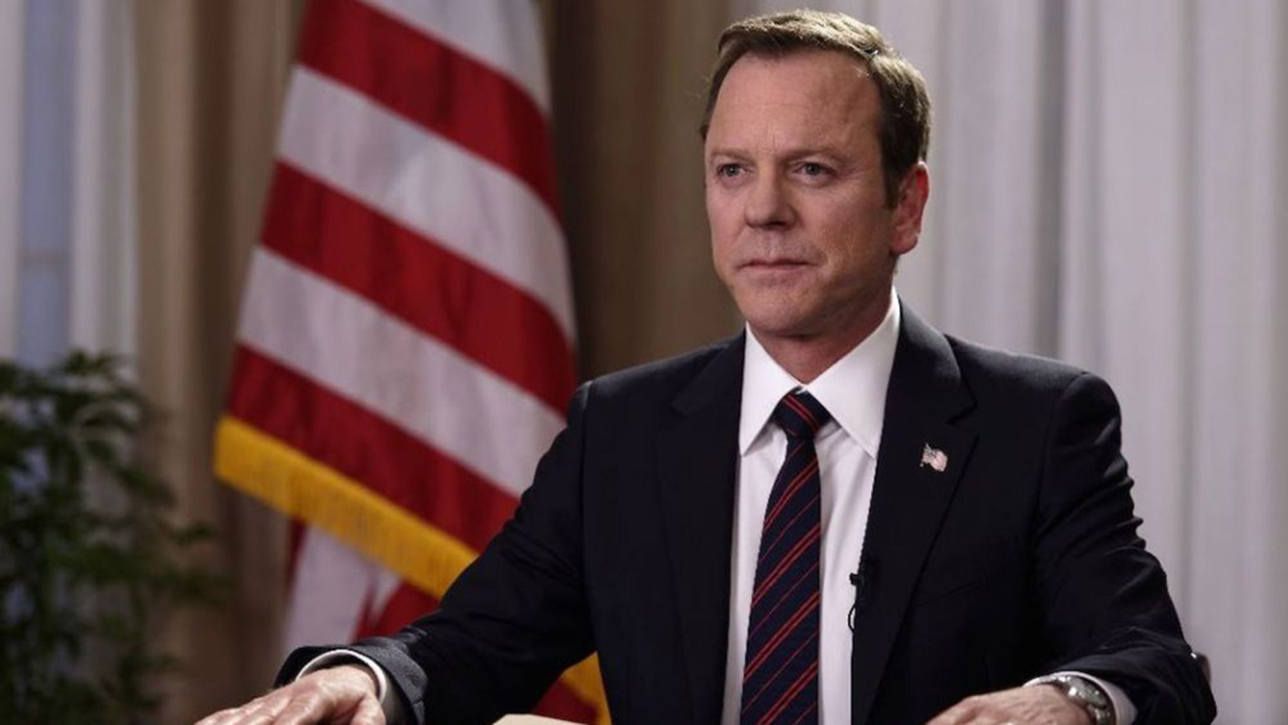 "No Merchandising. Editorial Use Only. No Book Cover Usage Mandatory Credit: Photo by Ben Mark Holzberg/ABC/Kobal/REX/Shutterstock (8563773a) Kiefer Sutherland ""Designated Survivor"" TV series - 2016"