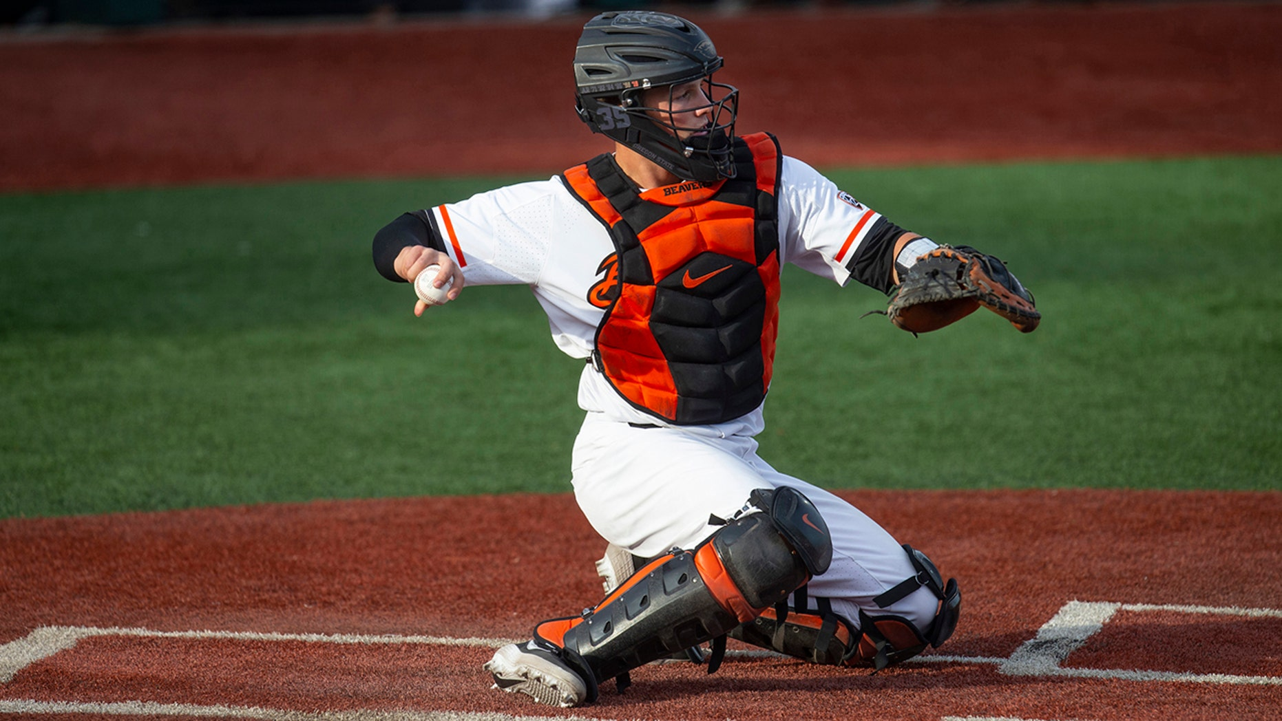 The Baltimore Orioles lead off the Major League Baseball Draft for the first time in 30 years and Oregon State catcher Adley Rutschman is a heavy favorite to be selected No. 1 on Monday night, June 3, 2019. (AP Photo/Chris Pietsch, File)