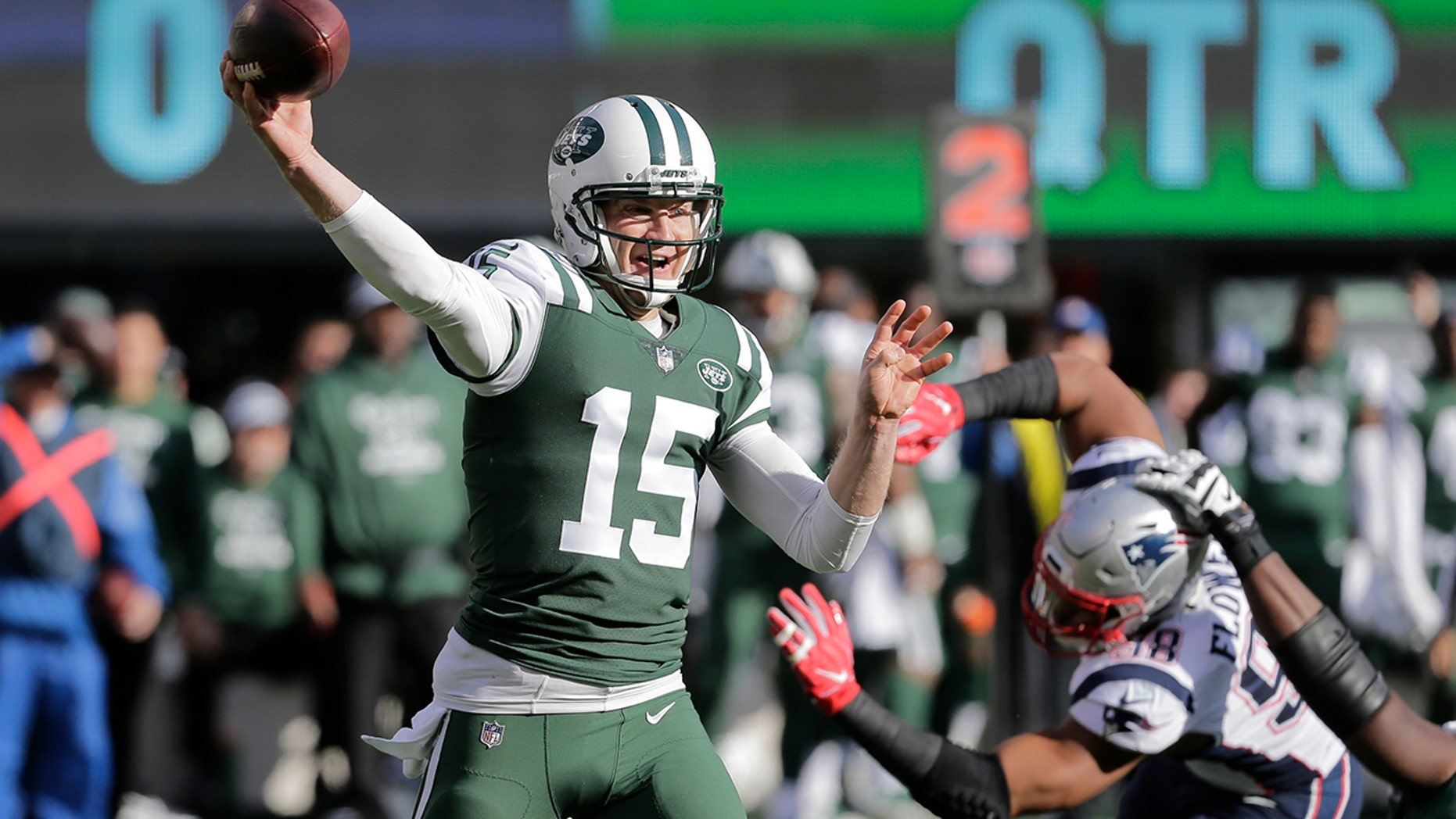 FILE - In this Nov. 25, 2018, file photo, New York Jets quarterback Josh McCown (15) throws a pass during the first half of an NFL football game against the New England Patriots, in East Rutherford, N.J. (AP Photo/Seth Wenig, File)