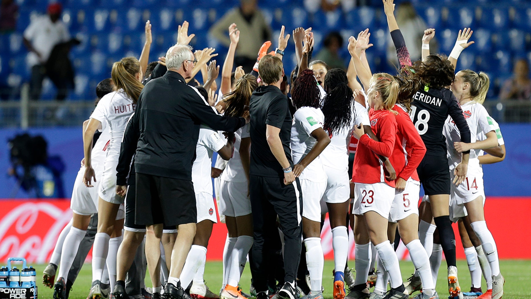 Canadian team celebrate after their 1-0 win in their Women's World Cup Group E soccer match between Canada and Cameroon in Montpellier, France, Monday, June 10, 2019. (AP Photo/Claude Paris)