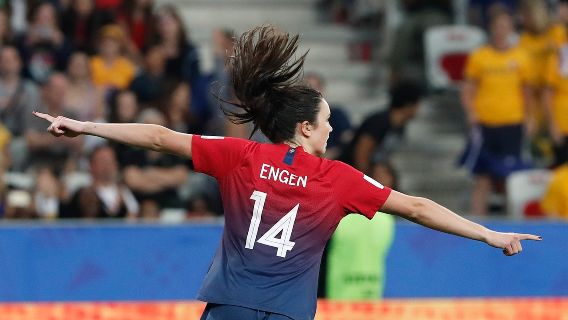 Norway's Ingrid Syrstad Engen celebrates after scoring in the penalty shoot-out of the Women's World Cup round of 16 soccer match between Norway and Australia at the Stade de Nice in Nice, France, Saturday, June 22, 2019. (AP Photo/Thibault Camus)