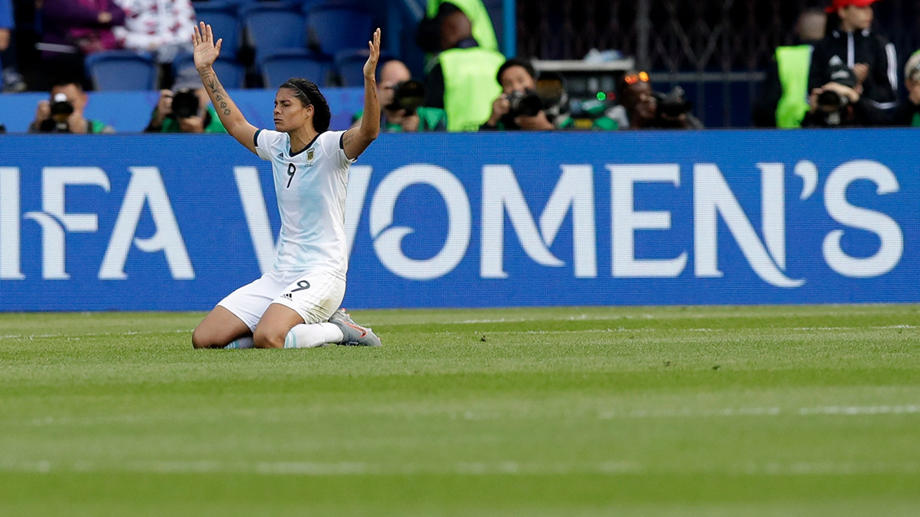 Argentina's Sole Jaimes gestures at the end of the Women's World Cup Group D soccer match between Argentina and Japan at the Parc des Princes in Paris, Monday, June 10, 2019. The match ended in a 0-0 draw. (AP Photo/Alessandra Tarantino)