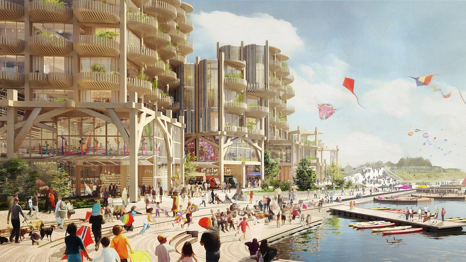 A rendering of Toronto's Parliament Slip during the summer. (Picture Plane for Heatherwick Studio for Sidewalk Labs)