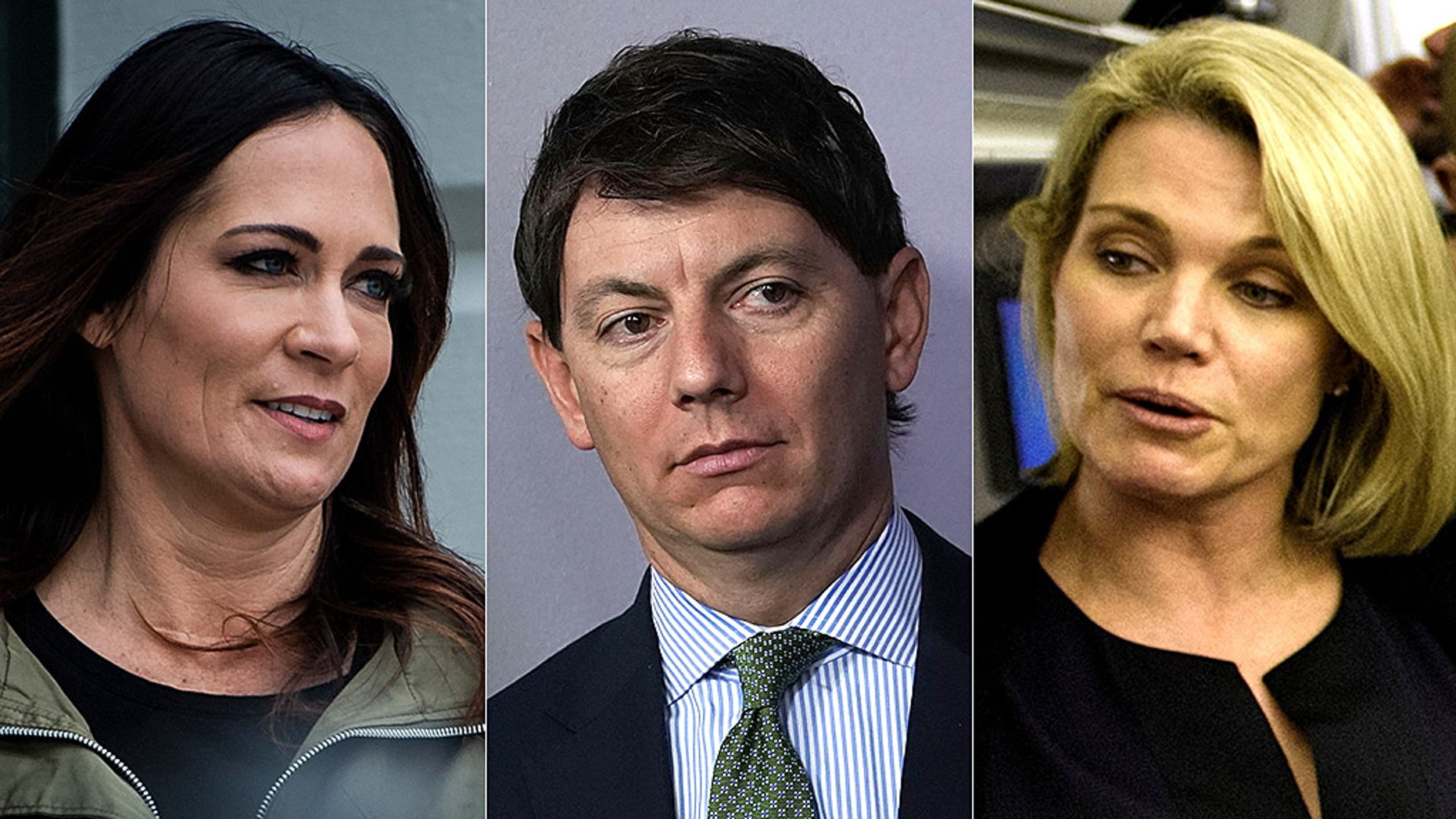 Melania Trump spokeswoman Stephanie Grisham, Deputy Press Secretary Hogan Gidley and former State Department spokesman Heather Nauert are among possible choices for White House press secretary. (Getty, Reuters).