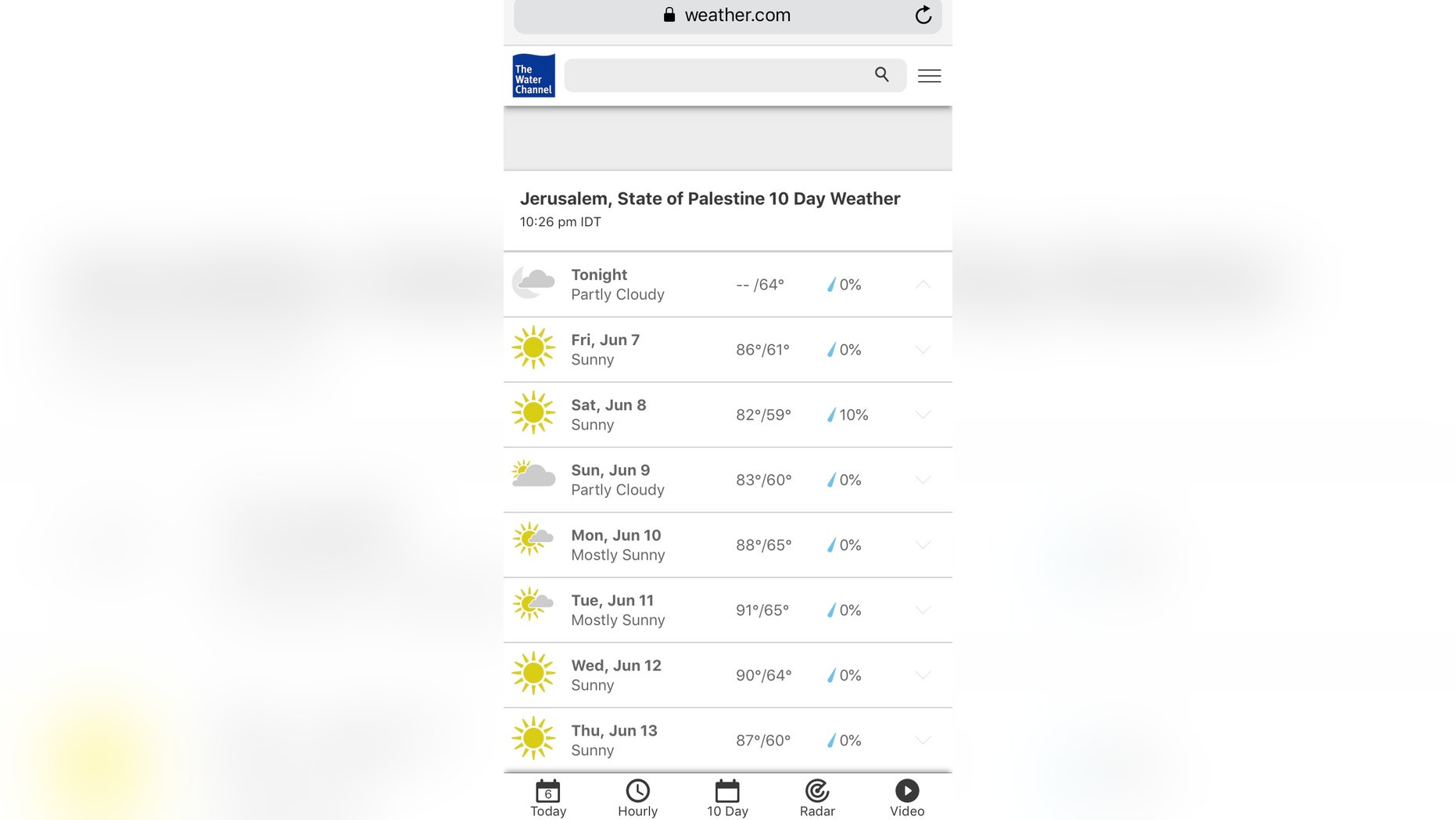 "Some activists upset by ""State of Palestine"" classification for Jerusalem from The Weather Channel site"