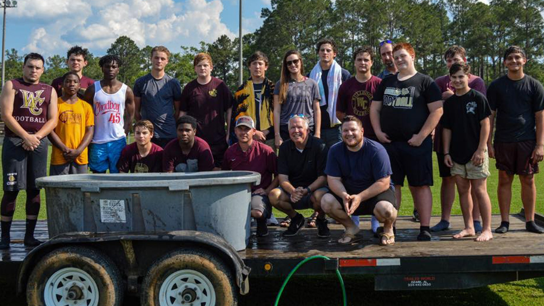 "18 football players at Washington County High School in Chatom, Ala. were baptized last month near the field, which upset an atheist group demanding an investigation into ""illegal"" activities."