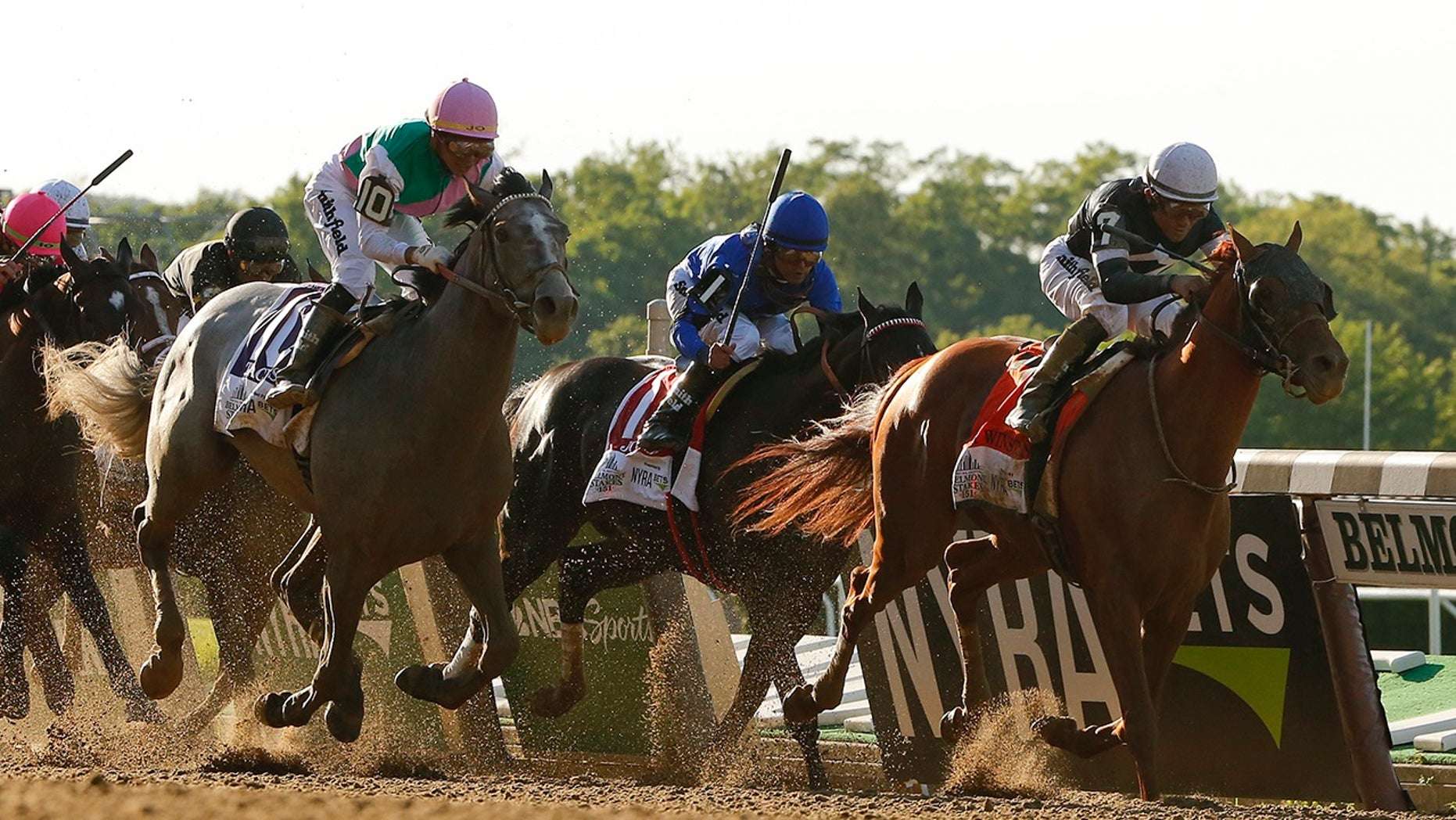 Sir Winston (7), with jockey Joel Rosario up, crosses the finish line to win the 151st running of the Belmont Stakes horse race, Saturday, June 8, 2019, in Elmont, N.Y. (AP Photo/Eduardo Munoz Alvarez)