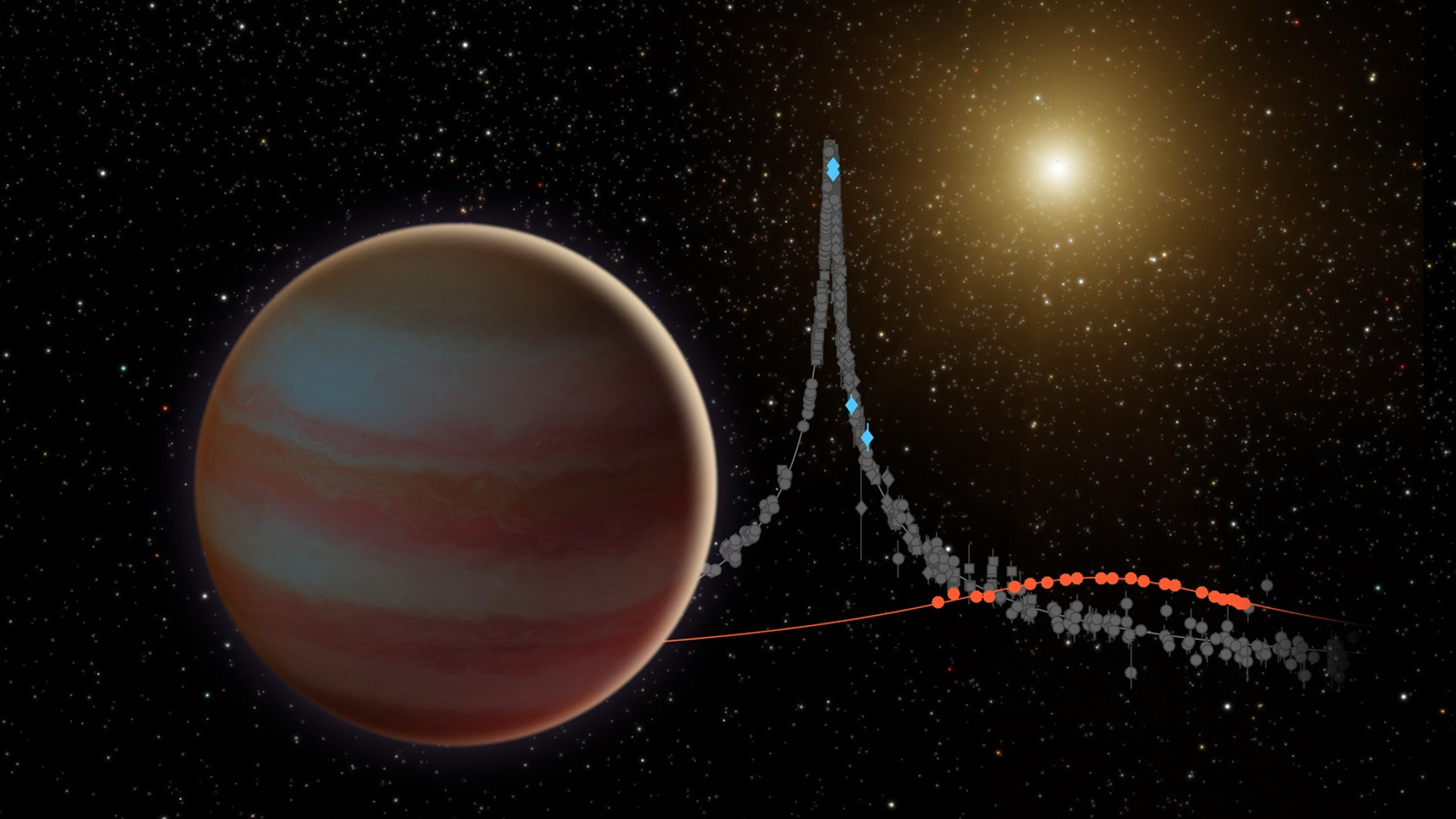 A 2016 NASA illustration depicts a different brown dwarf, oribiting further away from its host star.