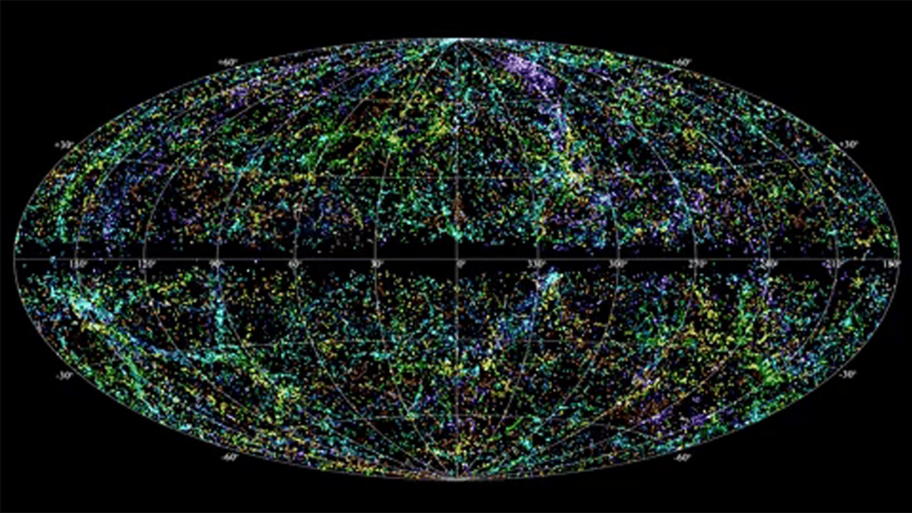 An animation shows the random appearance of fast radio bursts (FRBs) across the sky. Astronomers have discovered about 85 since 2007, and pinpointed two of them. Credit: NRAO Outreach/T. Jarrett (IPAC/Caltech); B. Saxton, NRAO/AUI/NSF