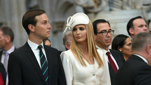 Ivanka Trump and Jared Kushner look on as President Trump places a wreath on the Grave of the Unknown Warrior during a tour of Westminster Abbey in London, June 3, 2019. (Stefan Rousseau/Pool Photo via AP)