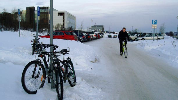 In this undated file photo, a cold winter's day in Tromsoe, the main city of Norway's Arctic.