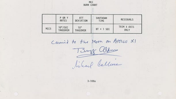The Burn Chart from the Apollo 11 flight plan. (RR Auction)