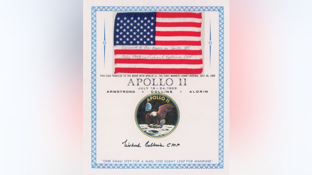 The flag that was flown in orbit during the Apollo 11 mission.