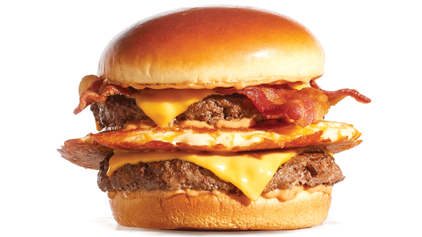 """IHOP describes its Big IHOP Pancake Burger as containing its """"world-famous buttermilk pancake griddled with cheddar cheese and layered between two premium Steakburger patties, then topped with American cheese, custom-cured hickory-smoked bacon and house-made IHOP sauce."""""""