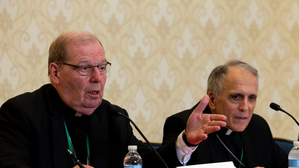 Robert Deeley, left, Bishop of the Diocese of Portland, accompanied by Cardinal Daniel DiNardo, of the Archdiocese of Galveston-Houston and President of the United States Conference of Catholic Bishops (USCCB), at a news conference in Baltimore on Tuesday.