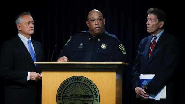 Cincinnati Police Chief Eliot Isaac, center, speaks alongside Hamilton County Prosecutor Joseph Deters, left, and Franklin County Prosecutor Ron O'Brien, right, during a news conference to discuss cases linked to Samuel Little, Friday, June 7, 2019, in Columbus. Prosecutors have linked Little to the 1981 slaying of Anna Stewart, abducted in Cincinnati. Her body was dumped near Columbus. (AP Photo/John Minchillo)