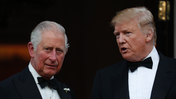 President Trump and Britain's Prince Charles outside Winfield House, the residence of the Ambassador of the United States of America to the U.K., in Regent's Park, London, on June 4, 2019. (AP Photo/Alastair Grant)