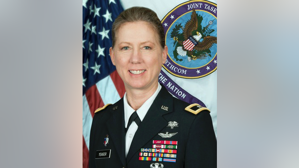 In this undated National Guard photo is Brig. Gen. Laura Yeager. The California National Guard has announced the appointment of the first woman to lead a U.S. Army infantry division. Brig. Gen. Laura Yeager will assume command of the 40th Infantry Division on June 29, 2019, at Joint Forces Training Base in Los Alamitos, California. Yeager currently commands Joint Task Force North, U.S. Northern Command at Fort Bliss, Texas. (National Guard via AP)