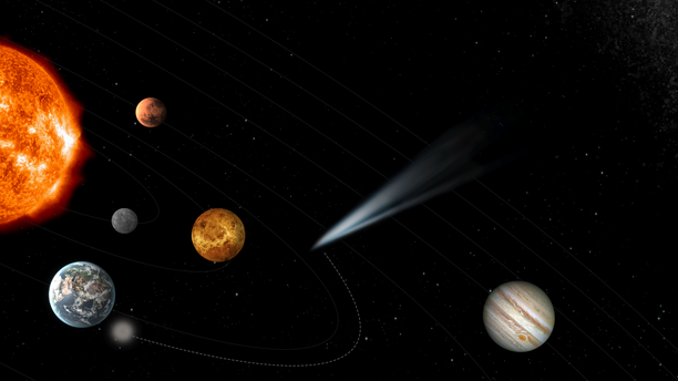 A graphic of the spacecraft's course to intercept the comet as it enters the inner solar system.